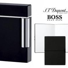 Set Bricheta Dupont Ligne 8 Black Lacquer si Note Pad Black Hugo Boss