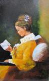 Tablou / Pictura fata in galben semnat Cimpoesu, Portrete, Ulei, Realism