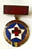 MEDICINA INSIGNA DONATOR DE ONOARE RPR CU BARETA EMAIL TRANSPARENT FISURA CRUCE, Romania de la 1950