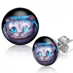Cercei rotunzi din oțel - pisică, tijă cu șurub