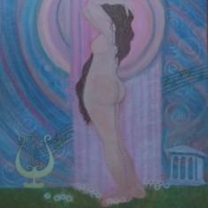 Reproducere in culori acrilice Nud antic I, pe carton panzat