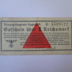 Rara! 1 Reichsmark 1939-1945,bancnota circulata in lagarele prizonieri Germania