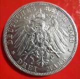 SV * Germania  3  MARK  1908 * ARGINT * WILHELM II  Rege Prusia       AUNC, Europa