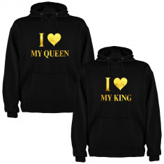 Set 2 Hanorace cuplu I love My King si I love My Queen, negru/auriu