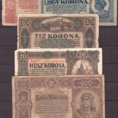 Ungaria 1920 - Set 5 bancnote uzate, deteriorate