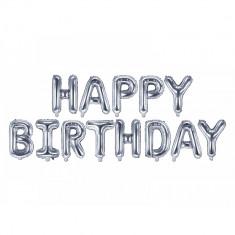 Set baloane folie Happy Birthday argintiu