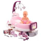 Cumpara ieftin Set cadita si accesorii pentru papusi Smoby Baby Nurse Nursery Mov