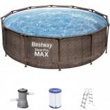 Piscina Bestway® Power Steel™ Deluxe Series™, 56709, ratan artificial, cu scara si pompa, 3.66x1m
