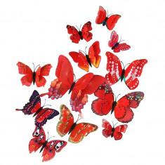 Fluturi 3D magnet, dubli, decoratiuni casa, evenimente, 12 bucati, rosu, A15