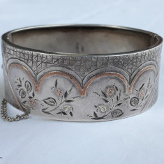BRATARA argint FLORI gravate cu AUR aplicat ANGLIA 1900 BIRMINGHAM exceptionala