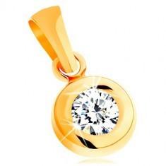 Pandantiv din aur galben de 14K - zirconiu rotund, transparent, într-o montură lucioasă rotundă