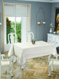 Față de masă impermeabila Valentini Bianco, Model Jackline Olive, 160×220 cm, culoare Crem