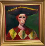 Cumpara ieftin Marian Condruz - Arlechin , ulei pe carton dur, Portrete, Altul