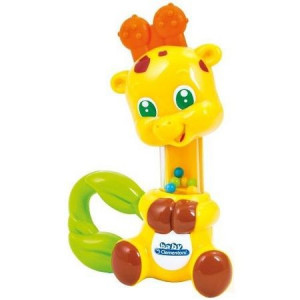 Jucarie zornaitoare din plastic moale pentru bebelusi in forma de girafa Clementoni