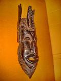 C27-Masca antica Africa mahon masiv coloniile franceze sculptura manuala.