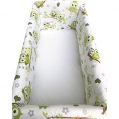 Set lenjerie pentru bebelusi cu aparatori laterale, Bufnita verde, bumbac 100%