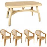Set gradina King masa 90x150 cm cu 4 scaune Carnaval culoare bej B001153 Raki