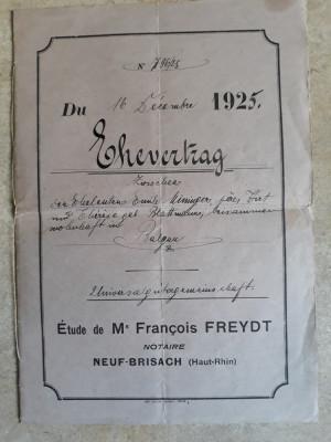 ACTE NOTARIALE VECHI 1925 -ALSACIA LORENA (FRANTA) -ELSSAS LOTHRINGEN (GERMANIA) foto