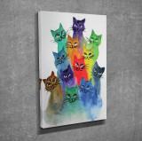Superb tablou efect 3D - PISICI VESELE ZAMBARETE COLORATE CURCUBEU- panza/lemn