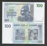 ZIMBABWE  100  DOLARI  DOLLARS   2007  UNC   [1]  P- 69  ,  necirculata