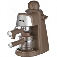 Espressor manual Zass, 800 W, 5 bari, dispozitiv cappuccino, maro