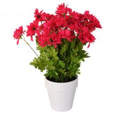 Crizanteme Artificiale decorative Roz in ghiveci Alb pentru interior sau exterior Aspect natural si rezistente la Umiditate D floare 37 cm D ghiveci 1