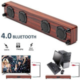 Soundbar Bluetooth difuzor Bass unitate dublă diafragmă cu microfon Wireless TV si imprimeu lemn