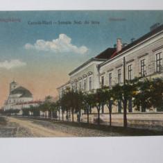 Carte postala Careii Mari(Satu Mare):Scoala secundara de fete,necirculata 1918