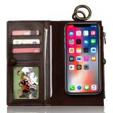 Husa de telefon multifunctionala din piele, 2 in 1, portofel cu clapa si husa pentru spatele telefonului, model pentru iPhone X/8P/8/7P/7/6P/6