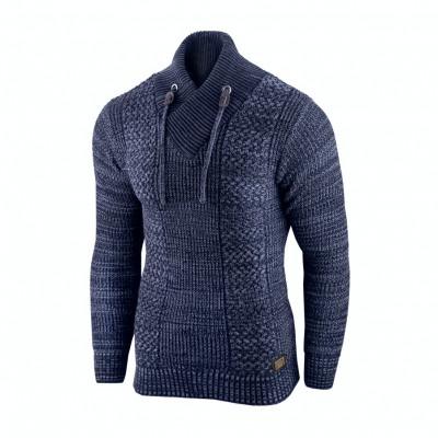 Pulover pentru barbati, bleumarin, guler inalt, flex fit, casual - Alaska Hunter foto