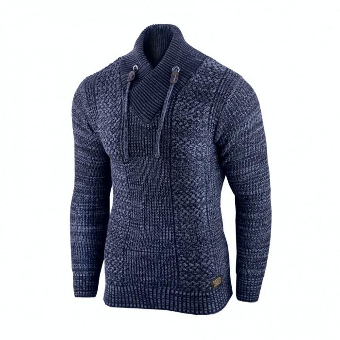 Pulover pentru barbati, bleumarin, guler inalt, flex fit, casual - Alaska Hunter
