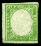 Italy Sardinia 1855 Definitives, King Viktor Emanuel II, 5c emerald, MH AM.157, Nestampilat