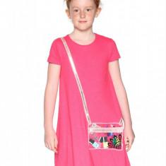 Rochie fete, cu terminatie asimterica Cheyene, Desigual, Marimea 7-8 ani, Roz