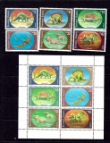 Bulgaria, dinozauri,  seria si blocul, 1990, MNH, Fauna, Nestampilat
