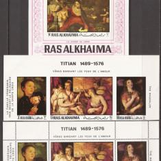 RAS AL KHAIMA PICTURA TITIAN ( 2 serii dt. si ndt. + colita ndt.) MNH