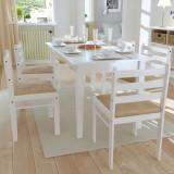 Scaune de bucătărie, 6 buc., alb, lemn masiv & catifea, vidaXL