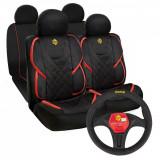 Cumpara ieftin Pachet promo Huse scaune auto Momo, tip Alcantara, negru cu rosu & Husa volan Momo, negru cu rosu