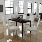 VidaXL Set masă și scaune de bucătărie 7 piese alb și negru