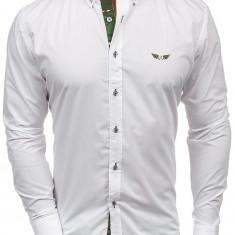 Cămașă elegantă pentru bărbat cu mâneca lungă camuflaj-albă Bolf 6850
