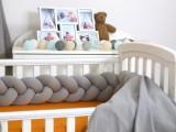 Protectie laterala patut bebe bumper impletit Sweater Grey 210 cm