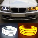 Angel Eyes COTTON compatibil BMW E46 fara lupa alb DRL + semnalizare galbena