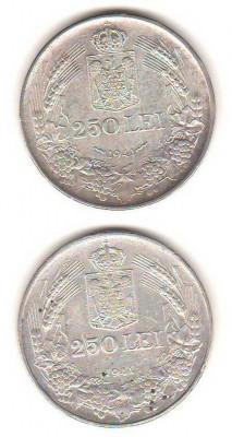 SV * Romania 2 x 250 LEI 1941 * ARGINT .835 * NIHIL SINE DEO + TOTUL PENTRU ȚARĂ foto