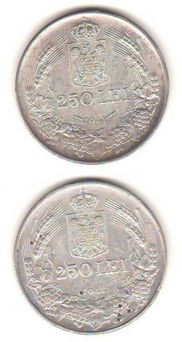 SV * Romania 2 x 250 LEI 1941 * ARGINT .835 * NIHIL SINE DEO + TOTUL PENTRU ȚARĂ