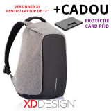 """Rucsac laptop Bobby XL antifurt gri 17"""" - Original XD Design + Cadou"""