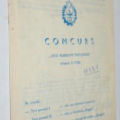 Pliant CONCURS PIONIERI RSR Anii marilor impliniri