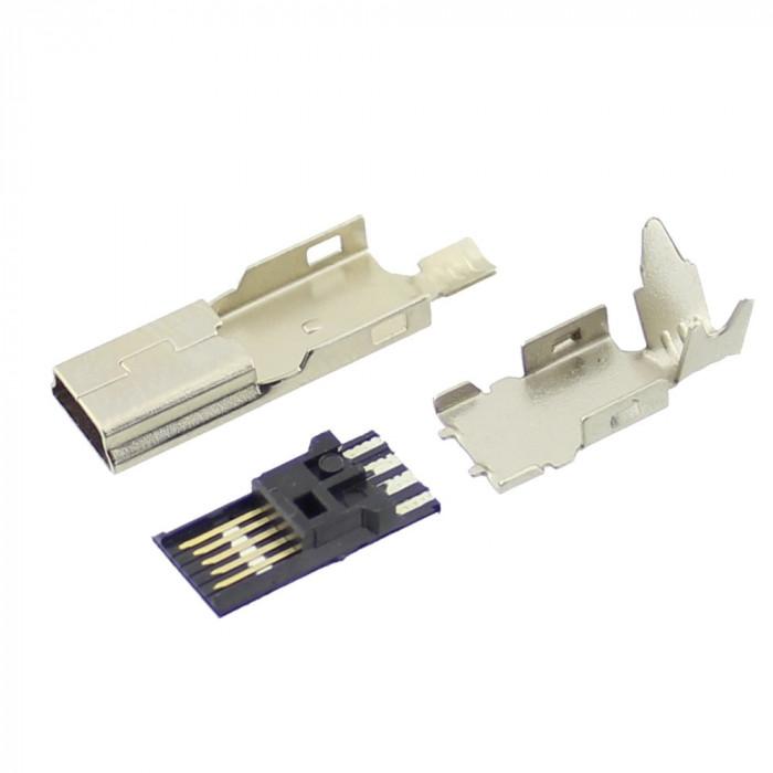 Conector mini USB B, tata, pe cablu, 5 pini, Keystone - 004389