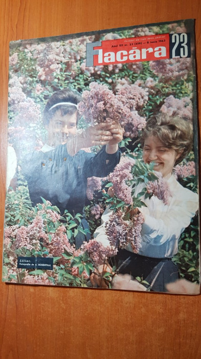 flacara 8 iunie 1963-articol si foto brancusi si uzina semanatoarea bucuresti