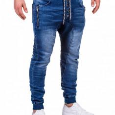 Blugi pentru barbati albastri cu siret elastici slim fit banda jos P198