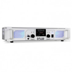 Skytec SPL-500 PA amplificator USB SD MP3 1600W alb