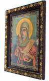 Icoana ortodoxa veche litografiata pe hartie - rama de lemn inceput de 1900